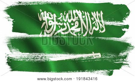 Saudi flag background with fabric texture. 3D illustration