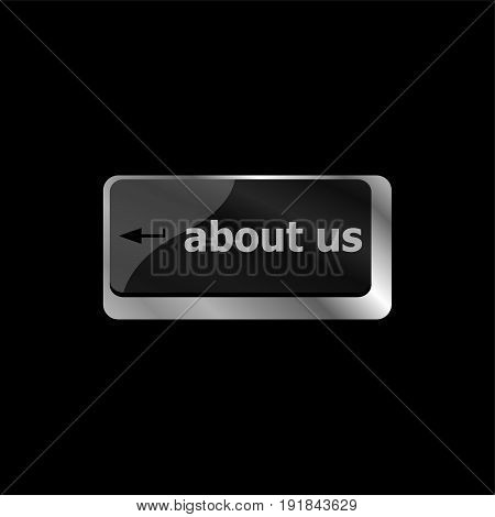 Marketing Concept. Computer Keyboard With Word About Us, Selected Focus On Enter Button Background