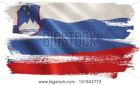 Slovenia flag background with fabric texture. 3D illustration