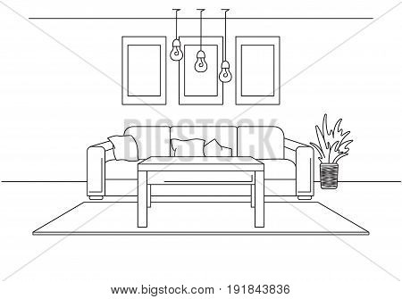Modern interior. Sofa lamp and bedside table. The clock hangs on the wall. In front of the sofa is a carpet. Vector illustration in a linear style.