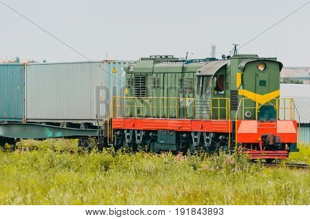 Freight Train Wagons With Containers Sorting Station.
