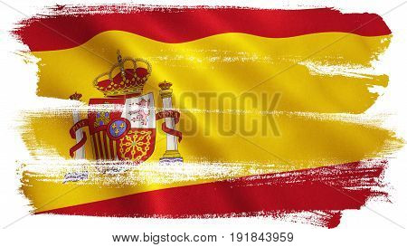 Spain flag background with fabric texture. 3D illustration.