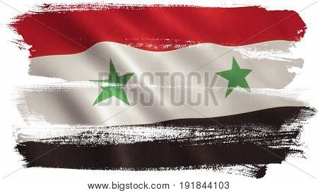 Syria flag background with fabric texture. 3D illustration.