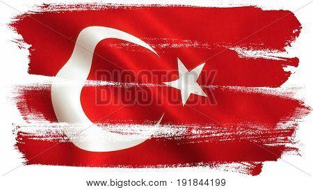 Turkish flag background texture full frame. 3D illustration.
