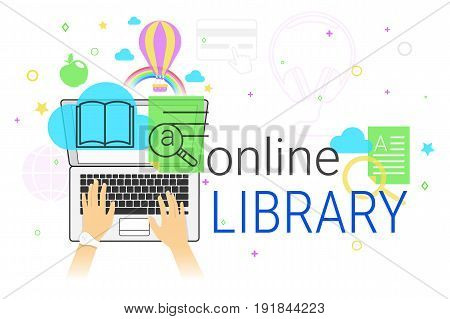 Online book and electronic library app on laptop creative concept vector illustration. Human hands typing on laptop keyboard for reading interesting books and education. E-book sync and cloud storage