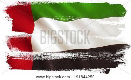 United Arab Emirates flag UAE national colors. 3D illustration.