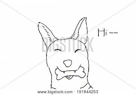 Hand Drawn of dog sketch on white background.