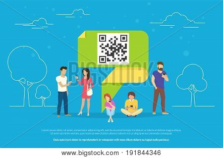 QR symbol concept vector illustration of people using mobile smartphones for online ordering and purchasing goods scanning qr-code on promo banners outdoors. Flat guys and women near green origami pin