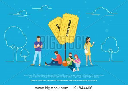 Two tickets pin symbol concept vector illustration of people using mobile smartphone with app for online ordering and purchasing admission to event. Flat guys and women near marketing promo pin