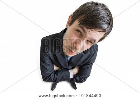 Young Skeptic Man Is Looking At You. View From Above. Isolated O