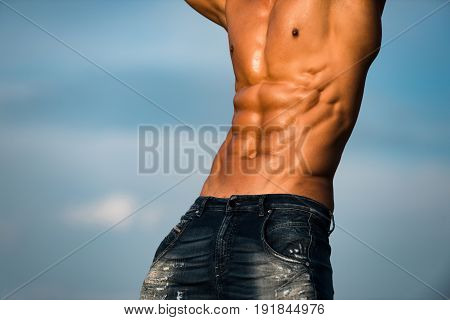 Muscular Torso Of Athlete Sexy Man With Strong Body