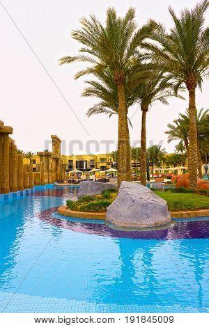 Sharm El Sheikh, Egypt - April 13, 2017: The luxury five star hotel RIXOS SEAGATE SHARM at Sharm El Sheikh, Egypt on April 13, 2017