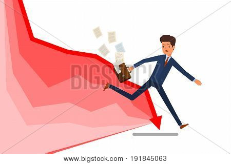 Concept of crisis. Businessman try to escape the economic crisis represented by an arrow. Flat design, vector illustration.