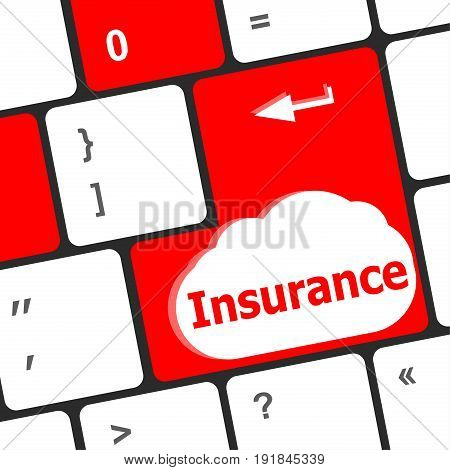 Keyboard With Insurance Button. Computer Laptop Keyboard