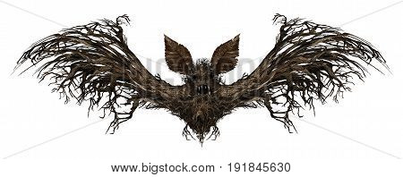 Ghost bat isolated on a white background as a creepy scary surreal flying winged creature made from a tree as a spooky surrealistic vampire horror symbol or halloween icon with 3D illustration elements.