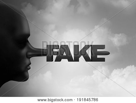 Fake media concept and leak or leaking news or hoax journalistic reporting as a person with a long liar nose shaped as text as false information and reporting metaphor and deceptive disinformation with 3D illustration elements.