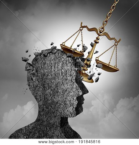 Litigation and lawsuit stress concept as a lawyer or attorney metaphor and plaintiff anxiety symbol as a law scale damaging a human icon as an impact due to legal issues of the courts or being sued and investigated as a 3D illustration.