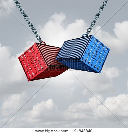 Trade war concept and economic conflict metaphor as two cargo freight shipping containers crashing into each other as a financial commerce symbol with 3D illustration.