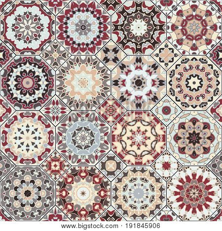 Set of octagonal and square ornaments. Decorative vector elements for textile, book covers, manufacturing, print, gift wrap. Oriental and ethnic motifs in design patterns.