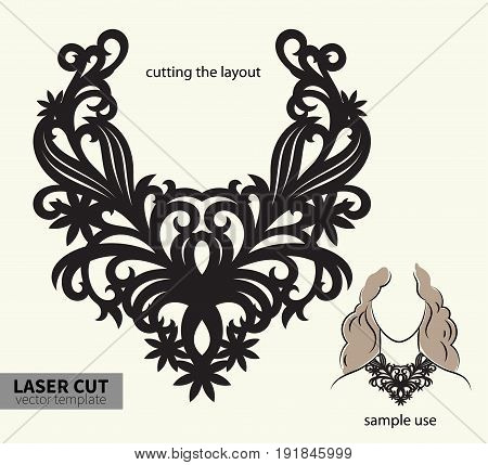 Digital vector file for laser cutting. Swirly ornate fashion necklace.