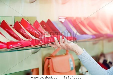 Fashion Female Shoe From Red And Blue Leather In Hand