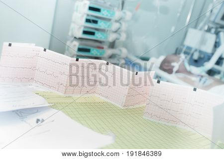 Medical tests result on the doctors table in ward.