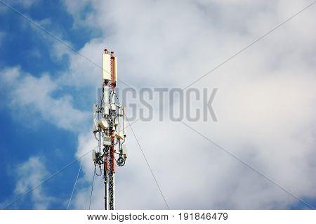 Communication Tower on blue sky background. telecommunication tower