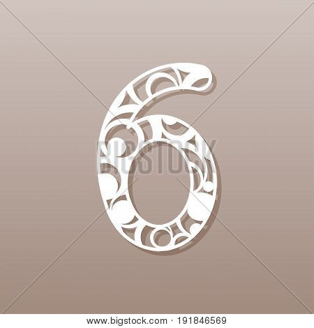 Number six for laser cutting.A round pattern. Vector illustration.