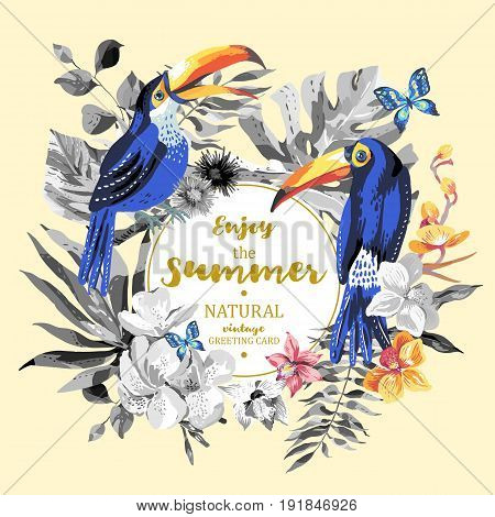 Vector tropical summer greeting card with pair of toucan, butterflies, exotic flowers and leaves. Natural floral illustration.