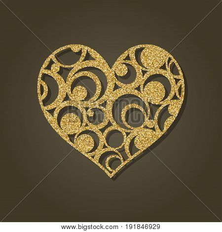 Heart for laser cutting.Round gold pattern. Vector illustration.