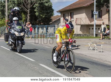Bourgoin-Jallieu France - 07 June 2017: The Belgian cyclist Thomas De Gendt of Lotto-Soudal Team in Yellow Jersey riding during the time trial stage 4 of Criterium du Dauphine 2017.