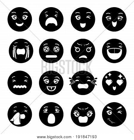 Smiles icons set. Simple illustration of 16 smiles vector icons for web