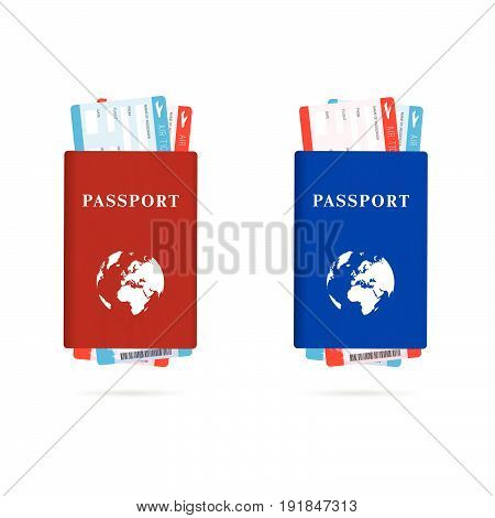 Passport Red And Blue With Air Ticket