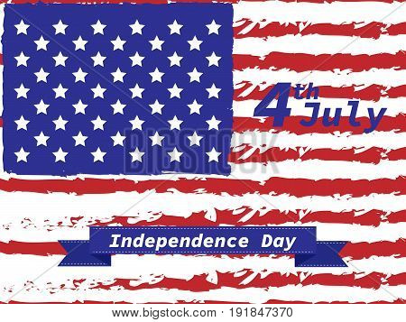 American Independence Day 4 Th July. Greeting Card Design. Ribbon Banner. Vector Illustration.patrio