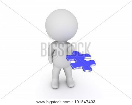 3D Character Extending His Hand Out With Blue Puzzle Piece In His Palm