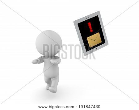 3D Character Running Away From Table Phone Device With Message Notification