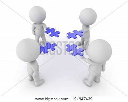 3D Characters Holding Blue Puzzle Pieces In Their Hands
