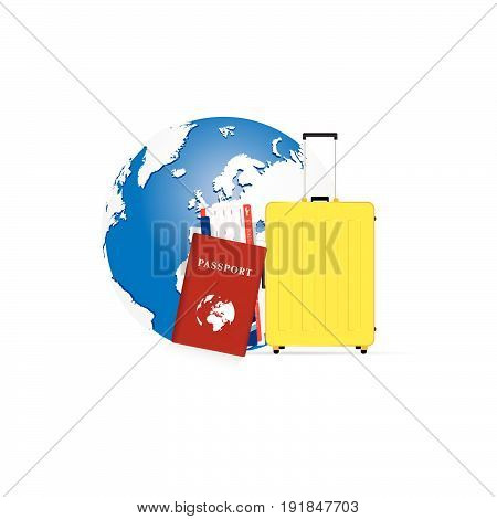 Travel Symbol Passport And Yellow Bag With Planet