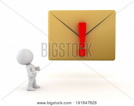 3D Character Looking Up At Yellow Message Envelope With Exclamation Point