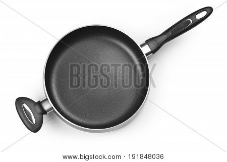Top view of new empty frying pan isolated on white with clipping path