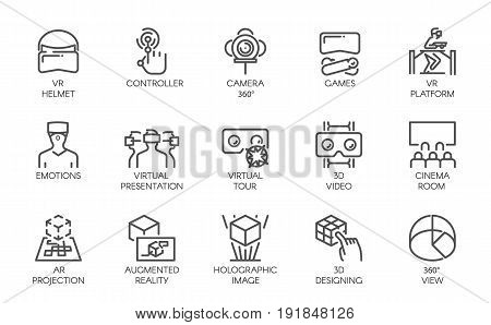 Big set of line icons of augmented reality digital AR technology future. Vector label isolated on a white background. Symbols of virtual modeling, simulation, 3d video, presentation and other