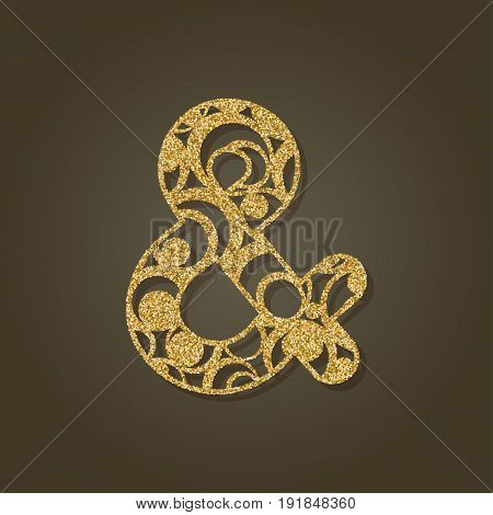 Ampersand for laser cutting.Round gold pattern. Vector illustration.