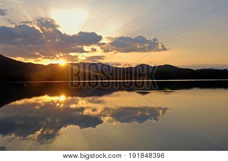 Sunset At Banyoles Lake, Girona Province, Catalonia, Spain