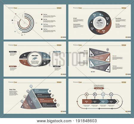 Infographic design set can be used for workflow layout, diagram, annual report, presentation, web design. Business and statistics concept with process and doughnut charts.