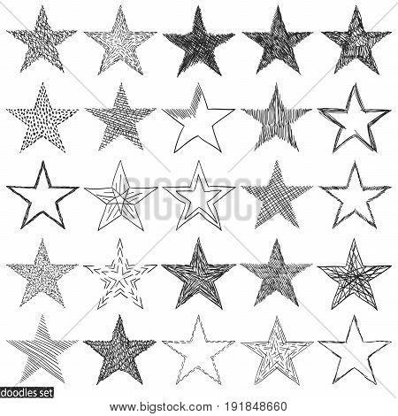 Doodles Set Scribble Sketch Hand Drawn Scrawl Collection Stars