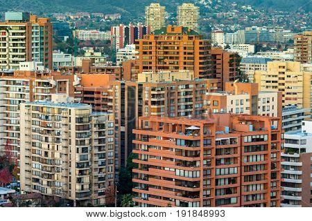 View of residential apartment buildings at Las Condes district Santiago de Chile