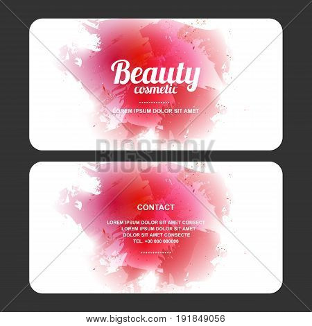 beauty cosmetic abstract design card, gift voucher, vector illustration