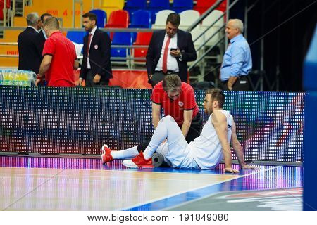 MOSCOW - APR 7, 2017: Massage before game at basketball game Euroleague CSKA Moscow (Russia) - Olympiakos (Greece) in Megasport stadium