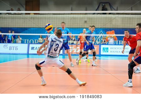 MOSCOW - APR 8, 2017: Libero takes delivery at match of Russian Volleyball Championship Dynamo (Moscow) - Nova (Novokuibyshevsk) in Palace of Sports Dynamo