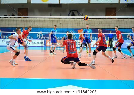 MOSCOW - APR 8, 2017: Players near net at match of Russian Volleyball Championship Dynamo (Moscow) - Nova (Novokuibyshevsk) in Palace of Sports Dynamo